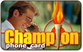 Champion phone card, Champion calling card